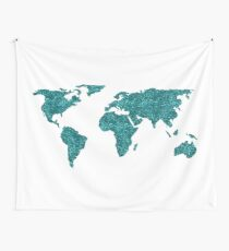 World Map Teal Glittery Sparkles Wall Tapestry
