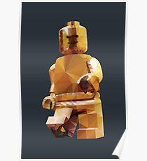 Golden Lego Minifigure Polygon Art Poster