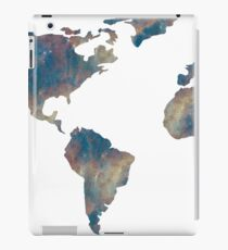 World Map Space Watercolor in Blue iPad Case/Skin