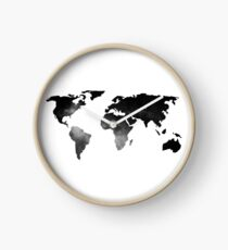 World Map Space Stars Black and White Clock