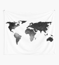 World Map Space Stars Black and White Wall Tapestry