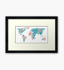 World Map Coral Pink and Turquoise Blue Framed Print
