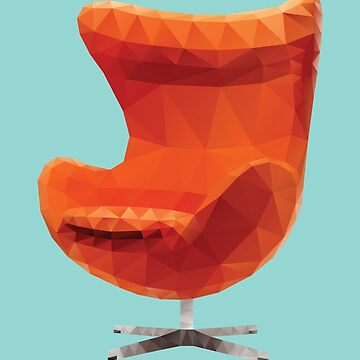 Orange Arne Jacobsen Egg Chair Polygon Art by polymolystudio