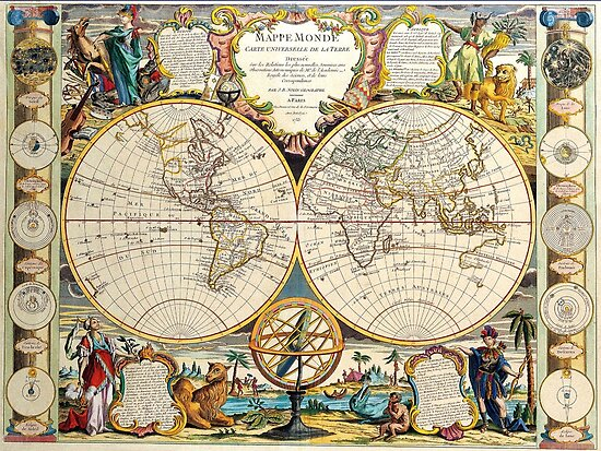 Vintage Maps Of The World 1755 by Igor Drondin
