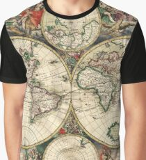 Vintage Maps Of The World 1689 Graphic T-Shirt