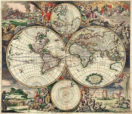 Vintage Maps Of The World 1689 by Igor Drondin