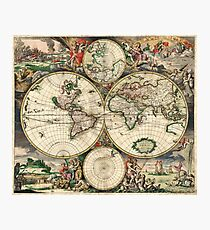 Vintage Maps Of The World 1689 Photographic Print