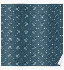Mini Floral Blue Navy Pattern Poster