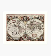Vintage Maps Of The World. Geographic and Hydrographic Map of the Whole World Art Print
