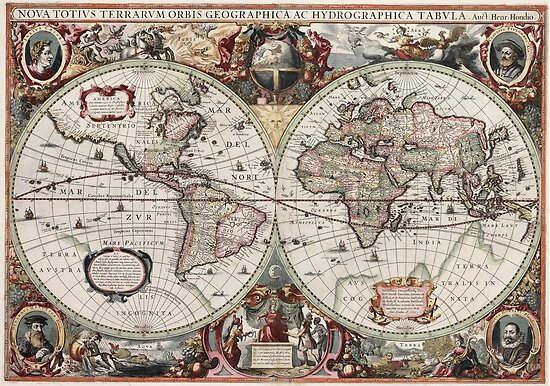 Vintage Maps Of The World. Geographic and Hydrographic Map of the Whole World by Igor Drondin
