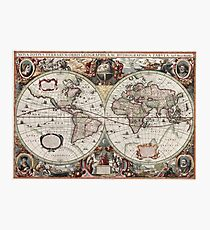 Vintage Maps Of The World. Geographic and Hydrographic Map of the Whole World Photographic Print