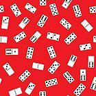 White dominoes bones on red background by naum100
