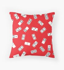 White dominoes bones on red background Throw Pillow