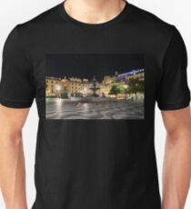 Waves and Lights - Rossio Square in Lisbon Portugal at Night T-Shirt
