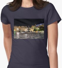 Waves and Lights - Rossio Square in Lisbon Portugal at Night Womens Fitted T-Shirt