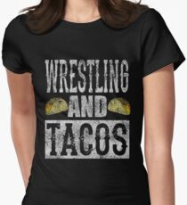 Wrestling and Tacos Funny Taco Distressed Womens Fitted T-Shirt