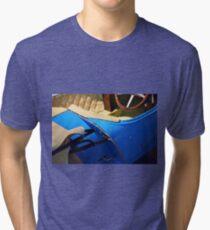 Interior of vintage blue car Tri-blend T-Shirt