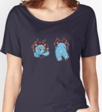 Monster cute mute fun fur fluffy adorable horns tail paw smile bear  Women's Relaxed Fit T-Shirt