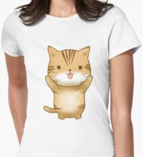 Orange Cat Begging Funny Emoji Paws  Womens Fitted T-Shirt