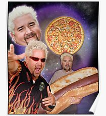 Three Guy Fieri Moon Poster