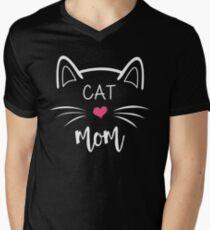 Katzenmutter T-Shirt mit V-Ausschnitt