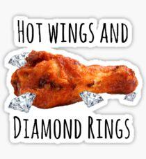 Hot wings & Diamond Rings Sticker
