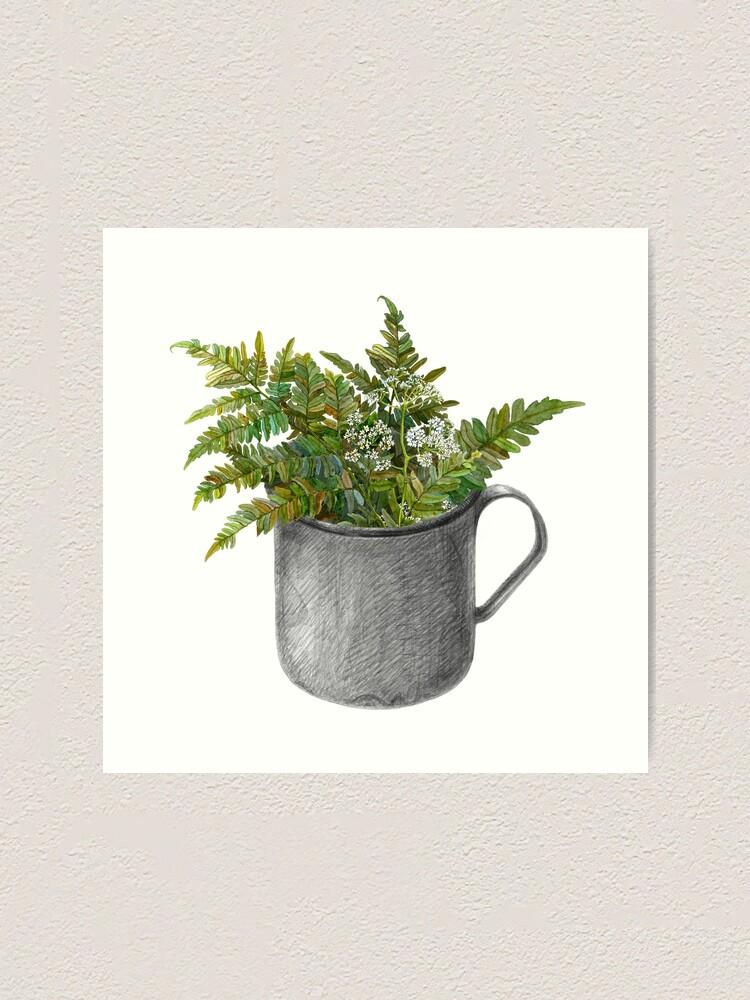 Alternate view of Mug with fern leaves Art Print