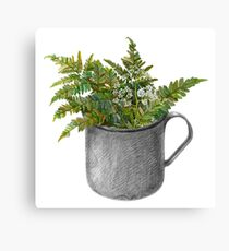 Mug with fern leaves Canvas Print