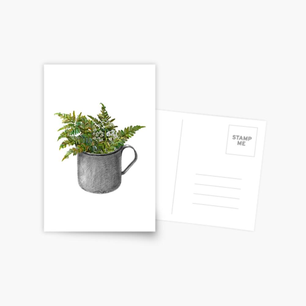 Mug with fern leaves Postcard