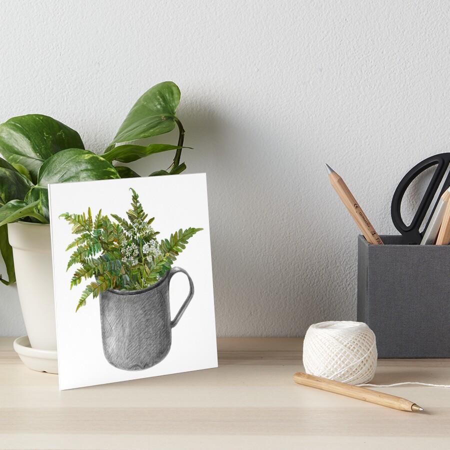 Mug with fern leaves Art Board Print