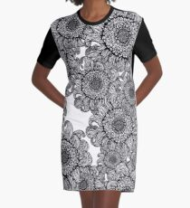 Black sunflowers Graphic T-Shirt Dress