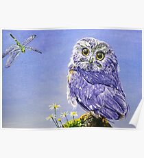 """Oil painting """"Owl and dragonfly"""" Poster"""
