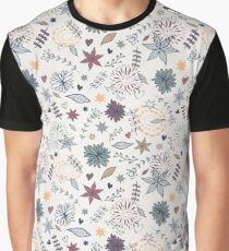 Cute seamless floral pattern with flowers, leaves, hearts Graphic T-Shirt
