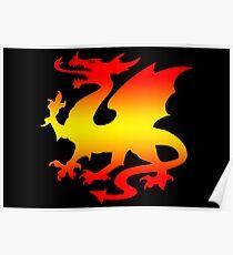 Hot Fire Dragon Design Poster