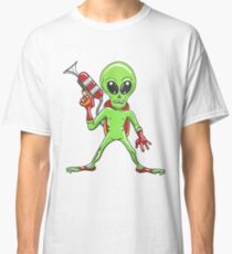 Cartoon Alien with ray gun Classic T-Shirt