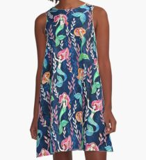 Merry Mermaids in Watercolor  A-Line Dress