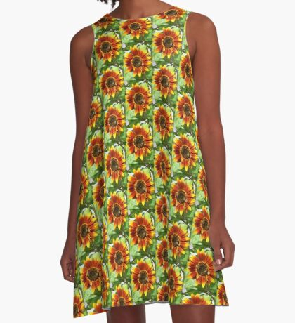 Bees on Red Sunflower A-Line Dress