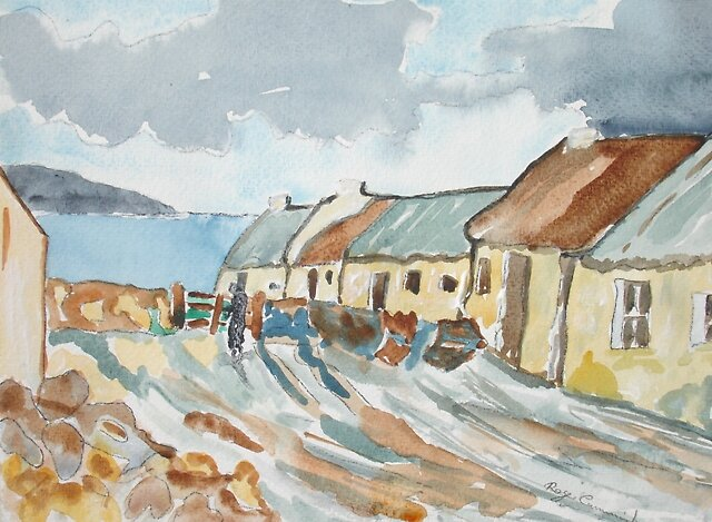 Cottages, Achill by Roger Cummiskey
