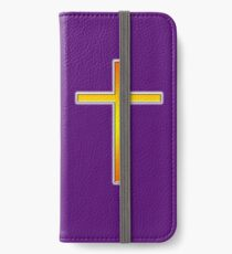 Cross, Christian, Crucifix, Christianity, Jesus, Lord, Gold, Purple iPhone Wallet/Case/Skin