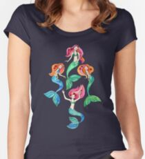 Merry Mermaids in Watercolor  Women's Fitted Scoop T-Shirt