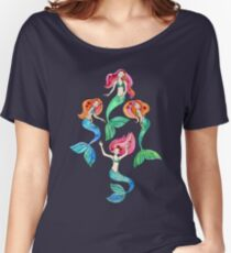 Merry Mermaids in Watercolor  Women's Relaxed Fit T-Shirt