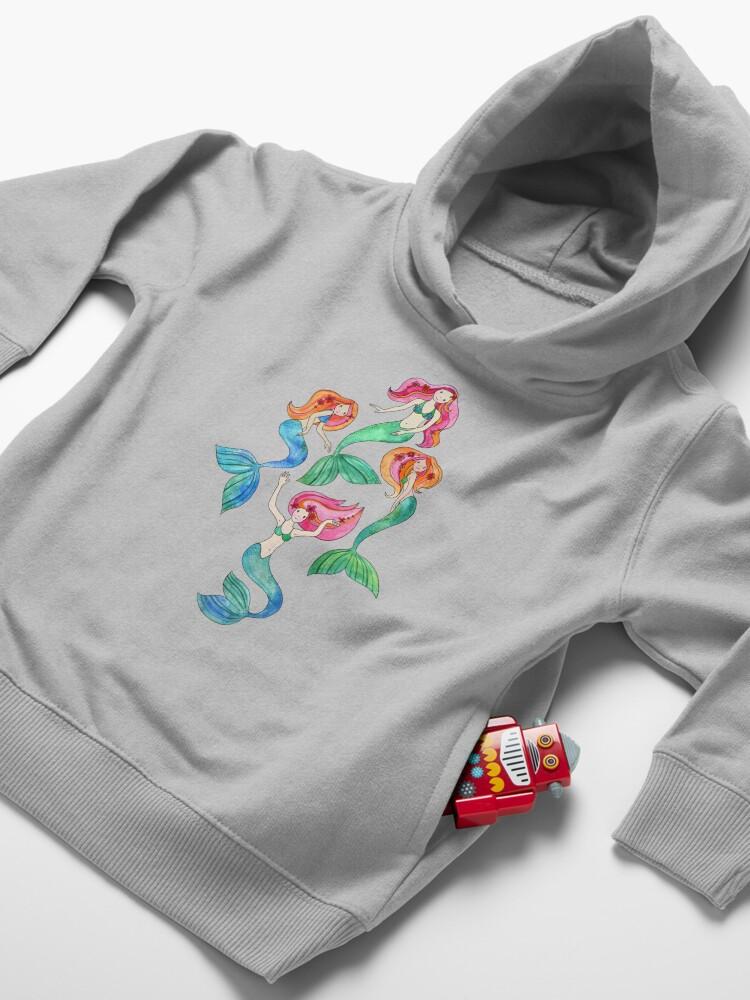 Alternate view of Merry Mermaids in Watercolor  Toddler Pullover Hoodie