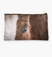 Left Eye of a horse close up Studio Pouch