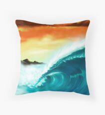 Blue Wave Sunset Throw Pillow