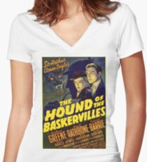 Sherlock Holmes Hound of the Baskervilles movie poster Women's Fitted V-Neck T-Shirt