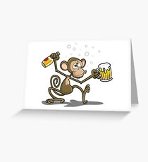 Monkey Drunk Cartoon Theme Greeting Card