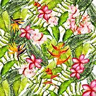 ropical Flower Palm Leaves Hibiscus Garden on #REDBUBBLE by UtArt
