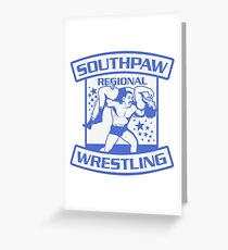 Southpaw Regional Wrestling Blue Greeting Card