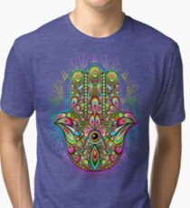 Hamsa Hand Psychedelic Amulet  Tri-blend T-Shirt