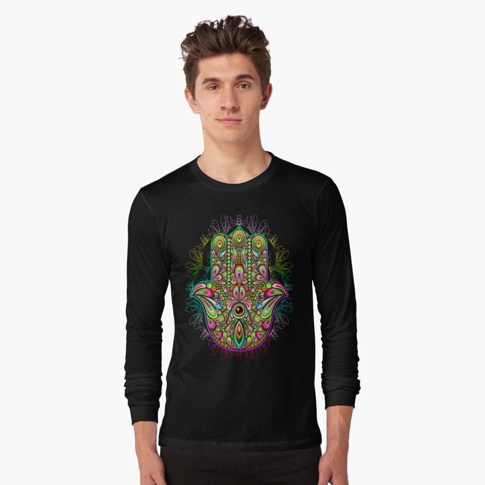 Hamsa Fatma Handpsychedelisches Amulett Langarmshirt